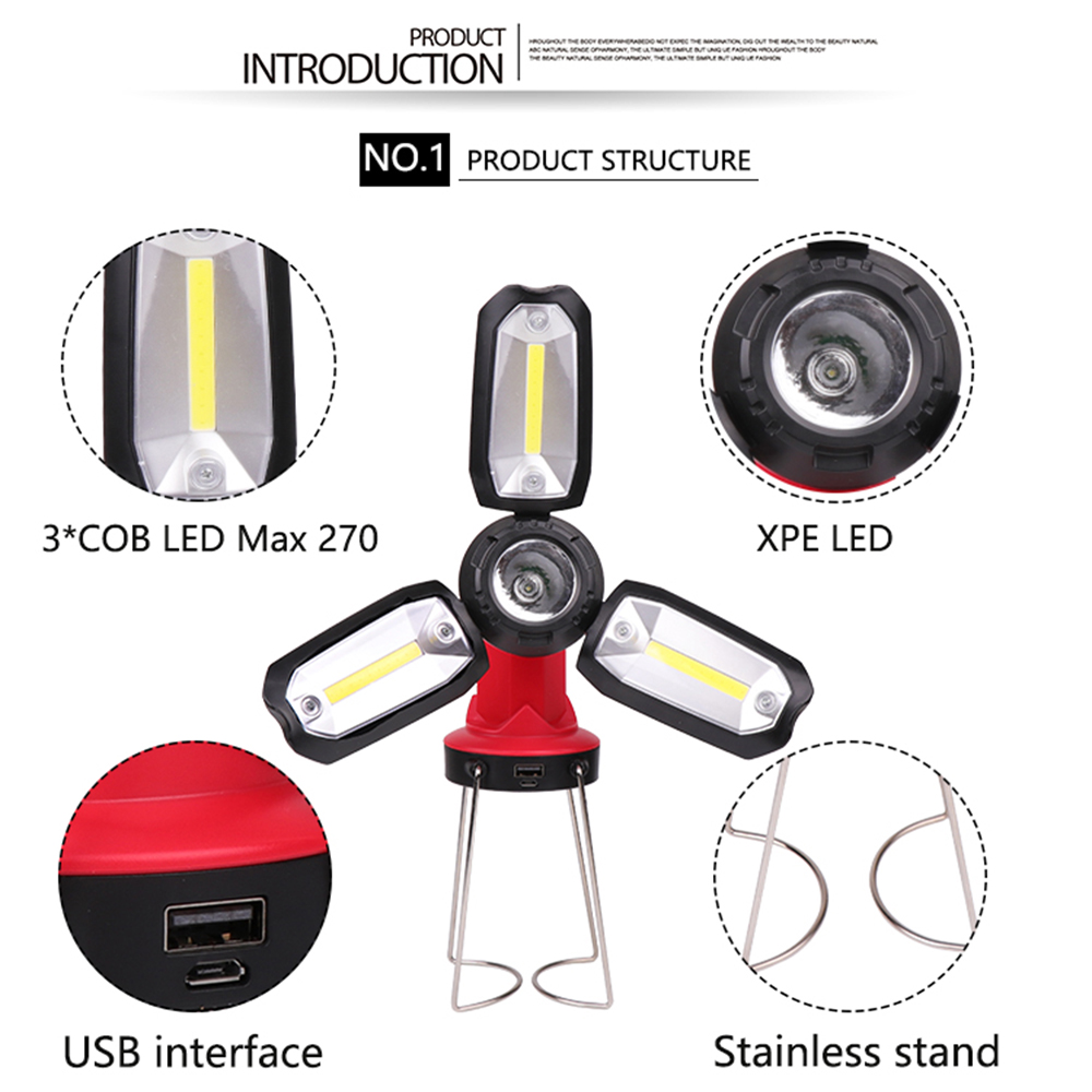Image 2 - Multifunction Rechargeable COB Work light LED Flashlight Camping light 6 lighting modes Deformable Fancy lighting with USB cableLED Flashlights   -