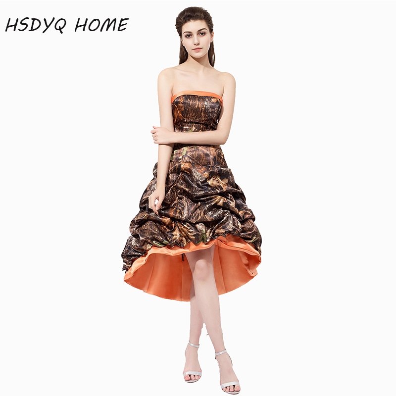 HSDYQ HOME Strapless   Bridesmaid     Dress   2018 Formal Gowns High Low Camo Wedding Party   Dresses   New Arrival