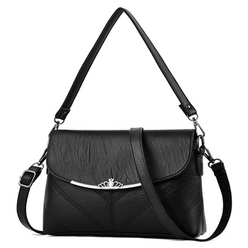 Luxury Crown Shoulder Bag Female Women's PU Leather Crossbody Bags Ladies Zipper Handbags for Women 2017 Famous Brands Bag sac