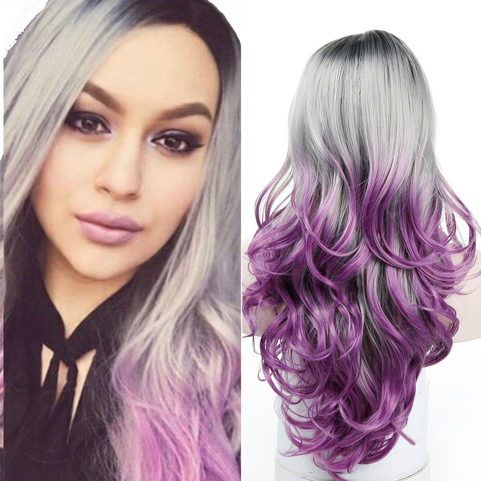 WTB Long Wavy Cosplay Wig Costume for Women Synthetic Heat Resistant Black Grey Purple Ombre Wigs