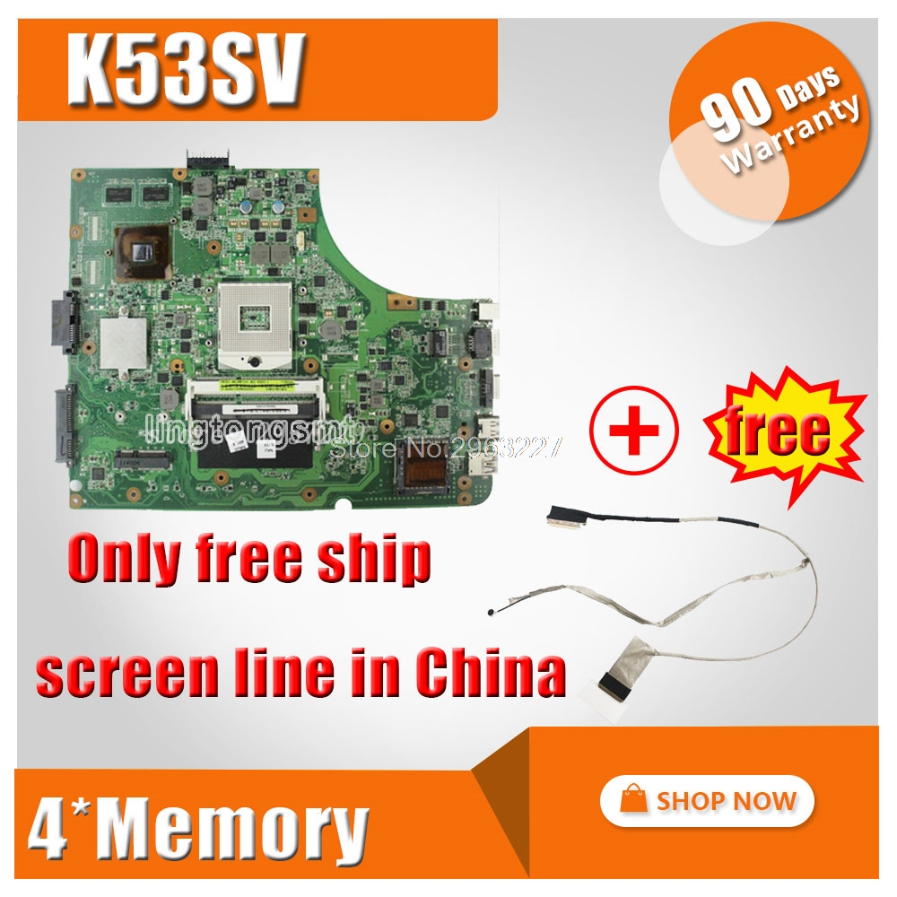 K53SV Motherboard REV 2.1,2.3,3.0,3.1 For ASUS X53S A53S K53SC P53S K53SM Laptop motherboard K53SV Mainboard K53SV Motherboard k53sv rev 3 1 4 pieces video memory 1gb 2 ddr3 slot for asus k53sv a53s k53s x53s p53s k53sc k53sj k53sm free shipping