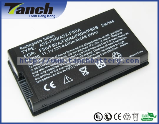 Replacement ASUS laptop batteries for F80A X80 X61 X85 A32-F80H F81 A8A A8000 X85C X85S X61SL F83T F80S X61GX 11.1V 6 cell