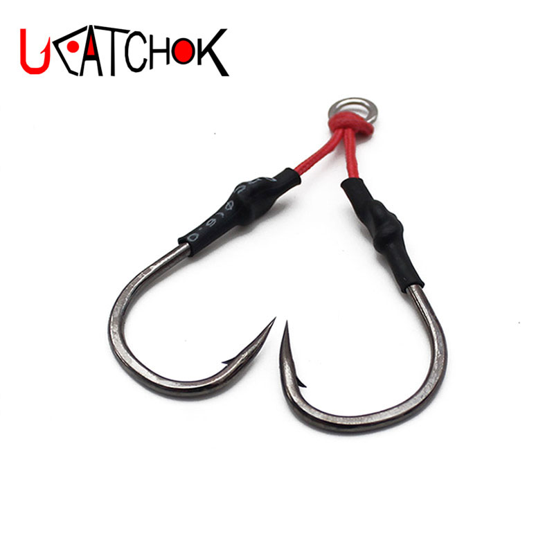 4pairs/pack double assembly metal fishing jigging hook 1/0-9/0 domestic assist roped hooks boat casting hooks accessory tackle