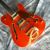 Free delivery, quality electric guitar, new jazz electric guitar hollow body, orange, customizable.