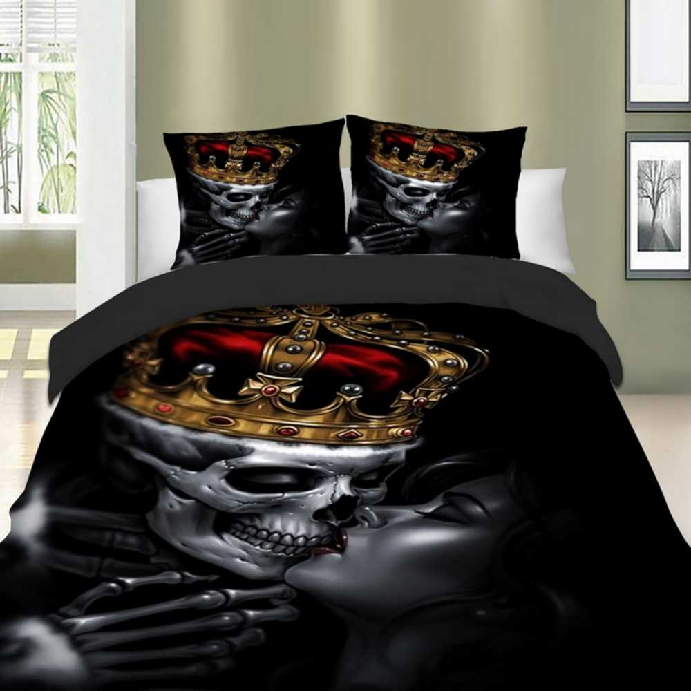 Dropshipping 3pcs Skull King Bedding Set Skeleton Queen Duvet Cover Pillow Cases Twin Full Queen King Size Bed Linen Set kiss
