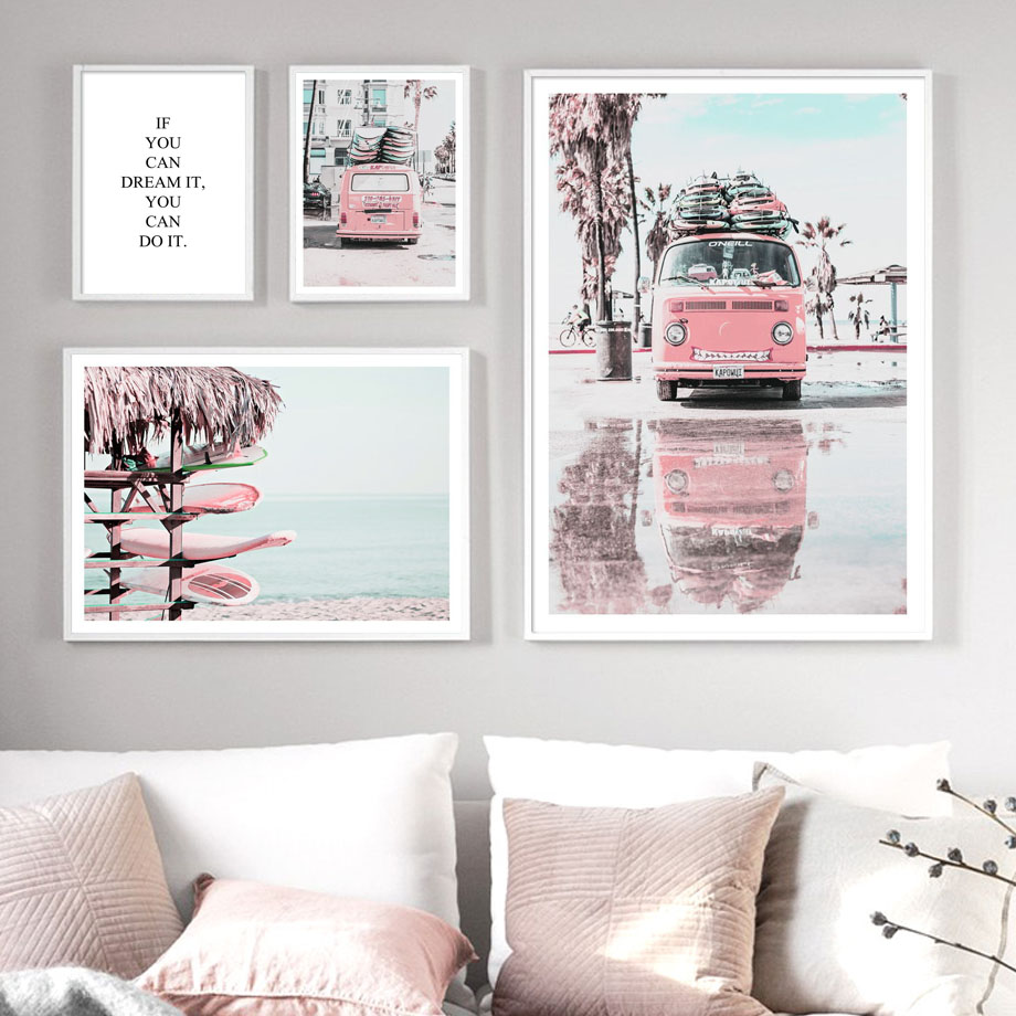 Pink Van Pickup Beach Sea Surfboard Quote Wall Art Canvas Painting Nordic Posters And Prints Wall Pictures For Living Room Decor