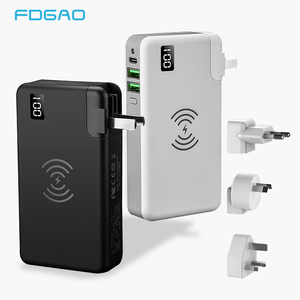 10000mAh Portable Power Bank QC3.0 PD Type-C Travel Charger Plug Adapter For IPhone XS Max XR X 8 Samsung S9 Qi Wireless Charge