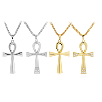 1pcs Silver Gold Color Tone Egyptian Ankh Cross Large Big Charms Pendant Necklace Metal Horsewhip Chain