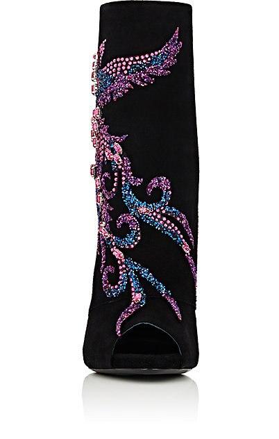 Suede Piedras Negro Corta Alto Abierto Showed Toe Botines De Nuevo Más Otoño Falsas As Lujo Tacón Con Cristal Colorido Color Botas Sexy Diamantes P7gHqT