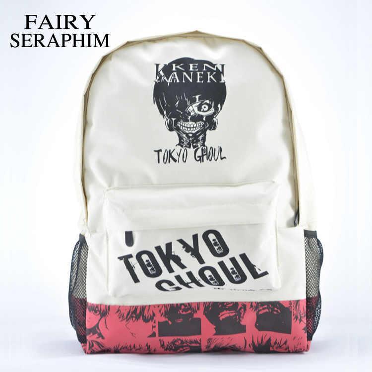 6b003d8a4fa7 Фея Серафим хаки цвет унисекс с принтом головы рюкзаки подростков японского  аниме школьные ранцы mochila Токио