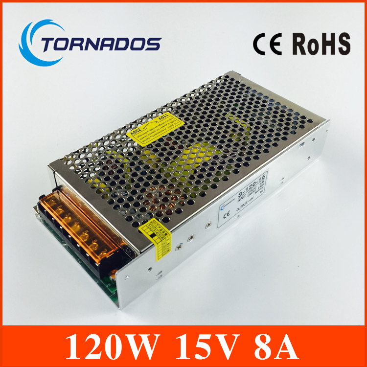 Free shipping Single output Exquisite appearance Switching power supply 15v 120w 8A S-120-15  CE ROHS Certificated цена и фото