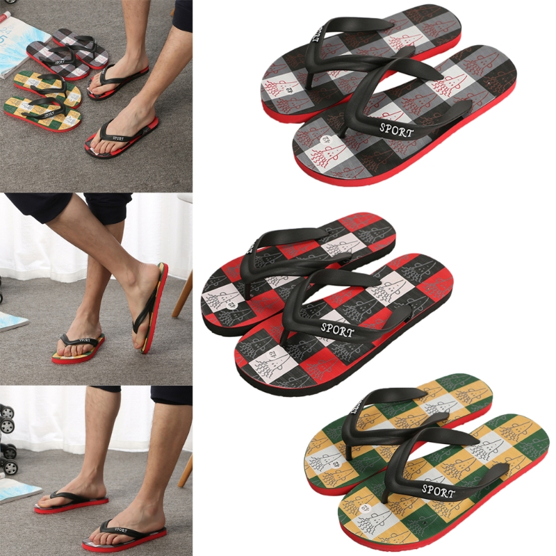 Newest Summer Colorful Plaid Slippers Mens Comfy Thong Flip Flops Non Slip Sandals Beach Shoes