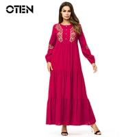 MISSJOY 2018 Women Long Sleeve Red flower Embroidery Muslim Abaya turkish kaftan Dubai Casual Loose elegant ladies Maxi dress