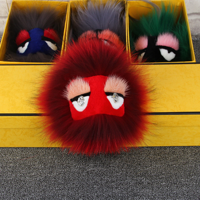 e570d230d78e Dark Red Fox Fur Monster Handbag Charms Real Furry Keychains Keyring Red  Face Pompom Bag Bugs Charm