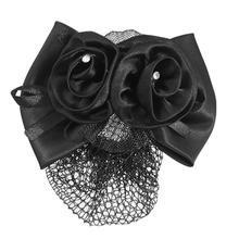 Black Polyester Bow Ribbon Metal Barrette Snood Net Bun Cover HairClip for Women