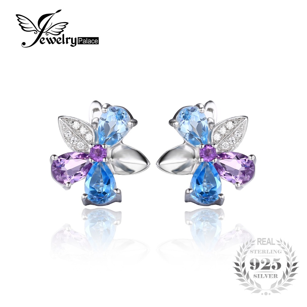 JewelryPalace Flower 2.6ct Natural Sky Swis Blue Topaz Amethyst Clip Earrings 925 Sterling Silver Fine Jewelry For Women