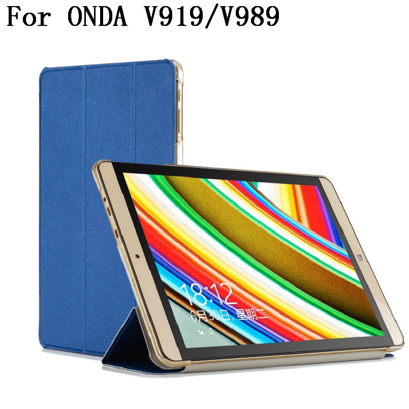 Ultra thin 3-folding Stand PU Leather Case Cover For ONDA V919 AIR / V989 AIR 9.7 inch Tablet Case,SKU 013Z2A new v919 flower print stand pu leather case for onda v919 v989 air 9 7 tablet cover protectors