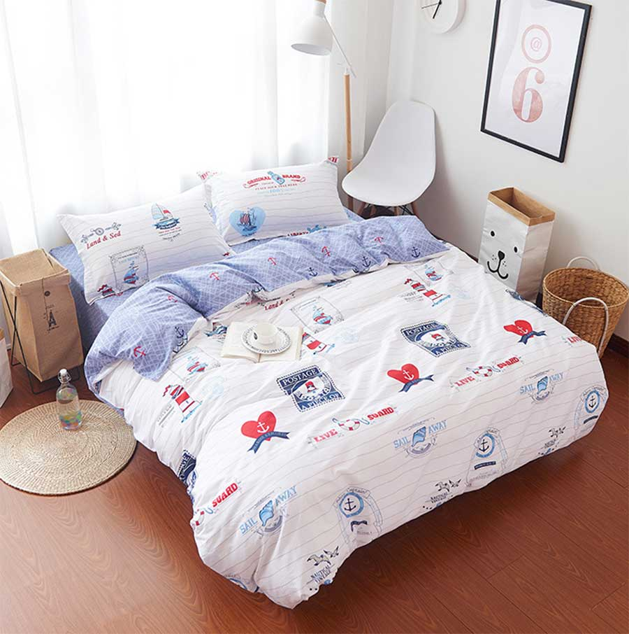 Colorful flower bedding - Character Bedding Sets Cotton Teen Child Kid Full Queen Vintage Cartoon Double Home Textiles Bed