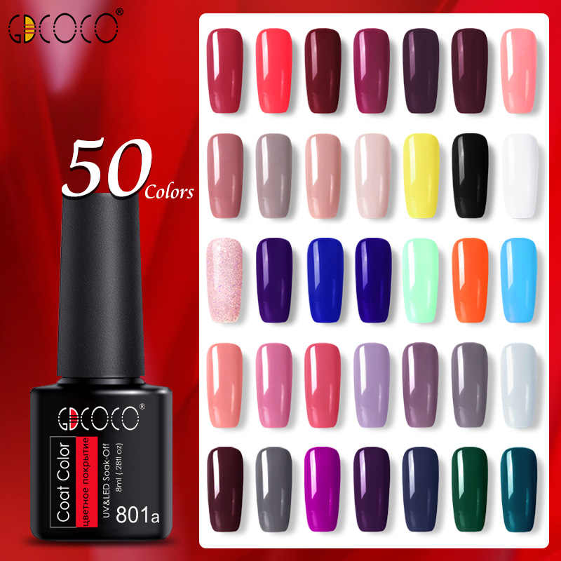 55 Pcs/set Warna Kuku Gel Polandia GDCOCO Botol Plastik Termurah Long Langgeng Gel Nail Polish Primer Base Coat Nowipe Top mantel
