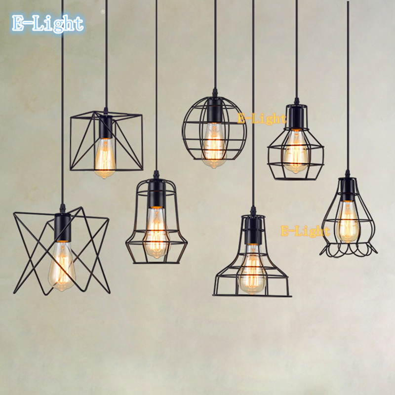 13 Small cage Vintage Iron Pendant Light Industrial Loft Retro Droplight Bar Cafe Restaurant American Country Style Hanging Lamp - E-Light lighting Most Fast Newest items store
