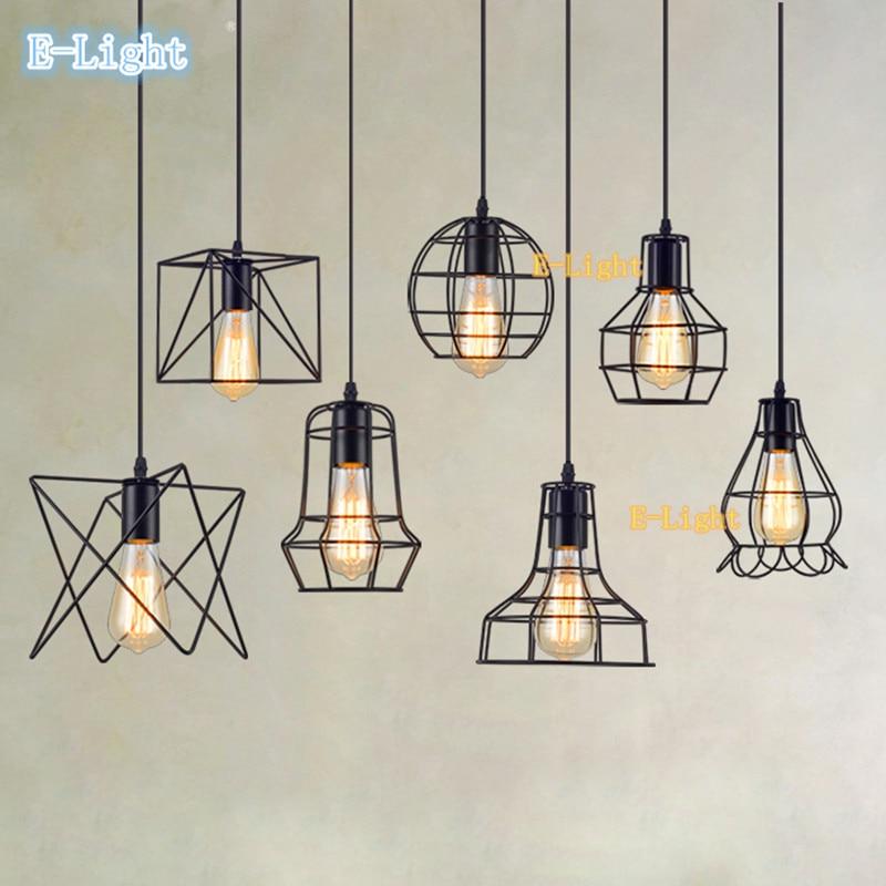 13 small cage vintage iron pendant light industrial loft retro droplight bar cafe restaurant. Black Bedroom Furniture Sets. Home Design Ideas