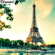 Dispaint Full Square/Round Drill 5D DIY Diamond Painting Paris Tower scenery 3D Embroidery Cross Stitch Home Decor A10779
