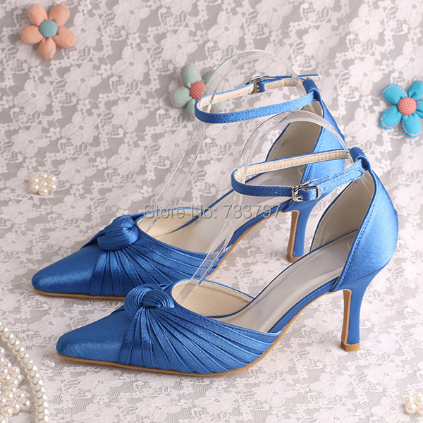 20 Colors Custom Made Italian Style Women Wedding Party Shoes Blue Satin Pointed Toe
