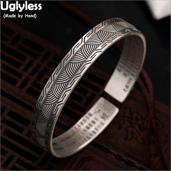 Uglyless Solid Real 99.9% Pure Silver Leaves Bangles for Women Heart Sutra Buddhism Gifts Fine Jewelry Thai Silver Open Bangles
