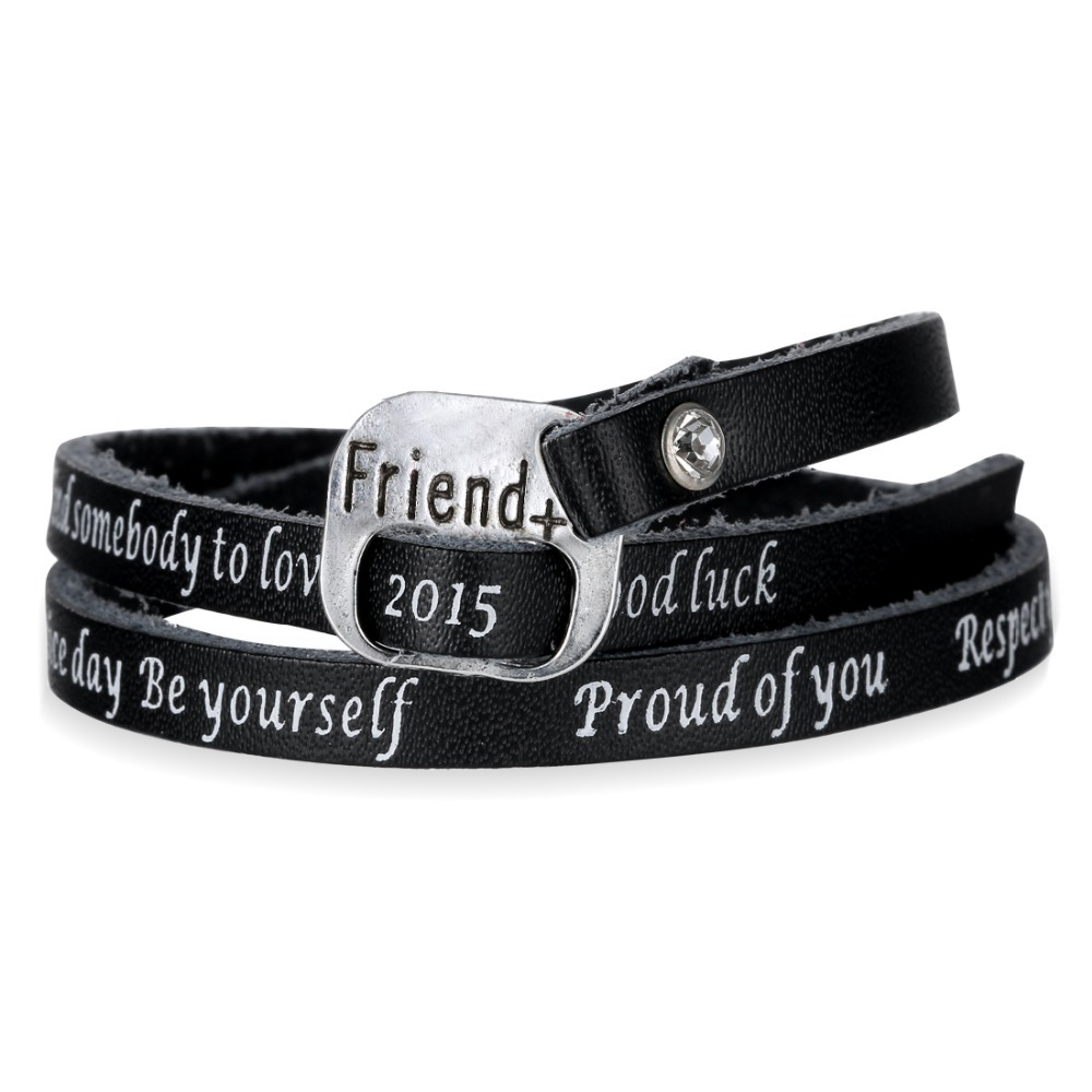 Engraved Friend Letter Leather Bracelet For Women Men Gifts 2 Layers  Leather Black Bangles Bracelet Jewelry