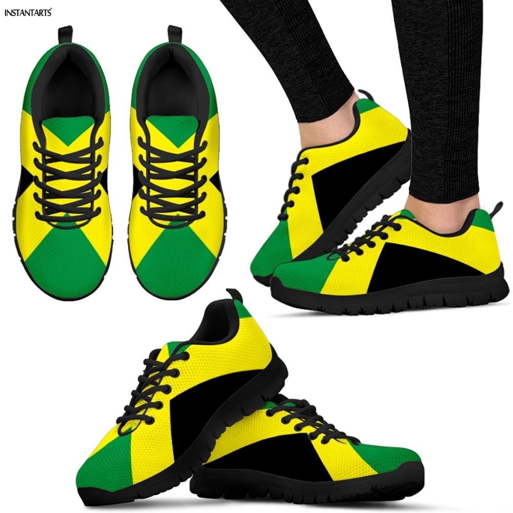 INSTANTARTS Jamaica Flags Printed Man Running Shoes Athletic Air Mesh Sneakers Breathable Lightweight Outdoor Male Sports Shoes