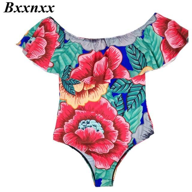 BXXNXX 2017 Sexy Off The Shoulder Print Floral Swimwear Women Bathing Suit Ruffle Monokini Swim Suits Wear One Piece Swimsuit