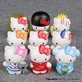 Anime Dos Desenhos Animados Olá Kitty Mini PVC Figuras Colecionáveis Brinquedos Modelo Crianças Brinquedos Meninas Presentes 6.5 cm 9 pçs/set KTFG038