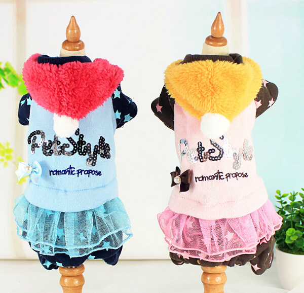 New autumn winter dogs cats fashion jumpsuits doggy warm soft dress hoodies puppy tracksuits clothes pet dog suits 1pcs XS-XL