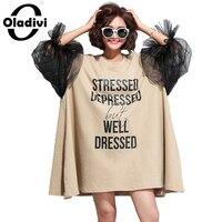 Oladivi特大ドレスプラスサイズ女性レタープリントオーガンジーパッチワークコットンドレスファッションレディーカジュアルルーズスタイルトップスチュニック