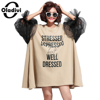 Oladivi Oversized Dress Plus Size Women Letter Print Organza Patchwork Cotton Dress Fashion Lady Casual Loose