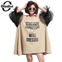 Oladivi Oversized Dress Plus Size Women Letter Print Organza Patchwork Cotton Dress Fashion Lady Casual Loose