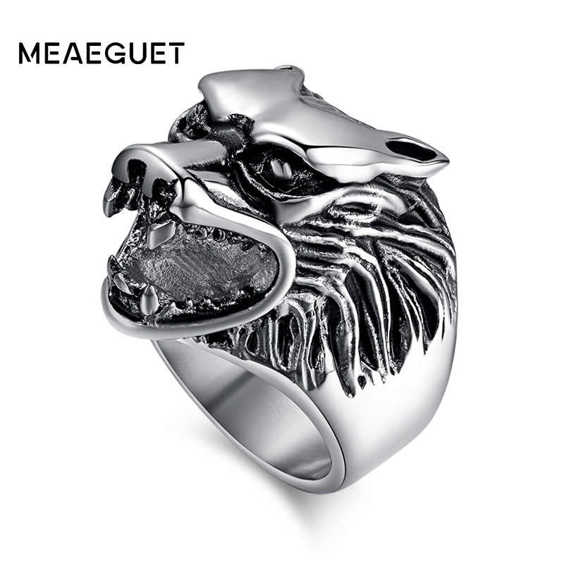 Meaeguet 25mm Wide Classic Wolf Head Ring For Male 316L Stainless Steel Punk Animal Shape Rings For Party Jewelry USA Size