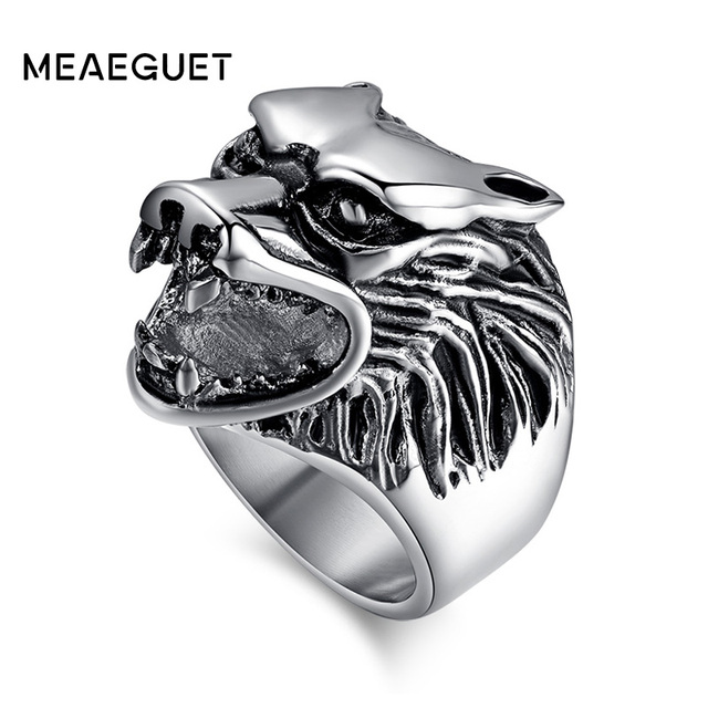 Meaeguet 25mm Wide Classic Wolf Head Ring For Male 316L Stainless Steel Punk Ani
