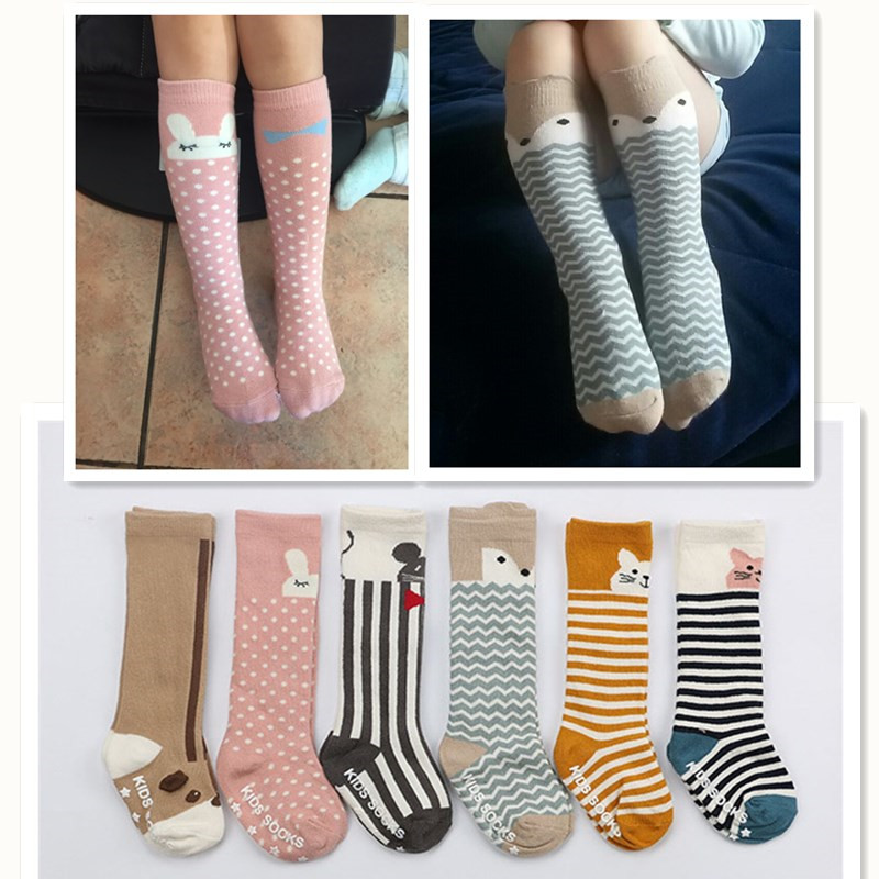 Baby Socks Newborn Kids Girl Boy Animal Pattern Print Anti-slip Knee High Sock Fox Cat Cotton Cute Cartoon Infant Toddler Socks цена