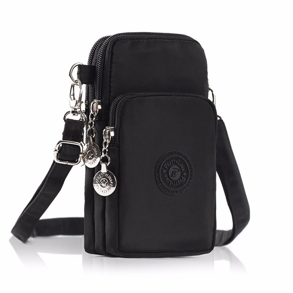 POMER Multinational 3 Layers Zipper Waterproof Nylon Crossbody Shoulder Bag Cell Phone Pouch Case For IPhone