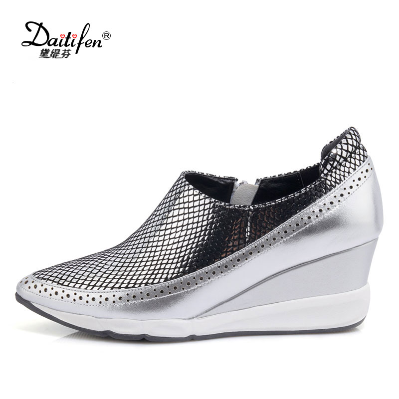 Daitifen Genuine Leather Women Shoes Platform Wedge Heels Full Grain Leather Shoes Pointed Toe Wedges Shoes Ladies Career Pump women genuine leather platform wedges shoes ladies shallow mouth slip on high heels wedge shoes fashion cow leather mother shoes