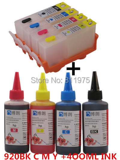 BLOOM 920XL 920  Refillable INK cartridge for HP Officejet 6000 6500 6500A 7000 7500A + for hp Premium  4 Color Dye Ink 400ML