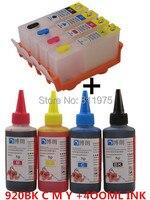 MEKAR 920XL 920 cartridge TINTA Isi Ulang untuk HP Officejet 6000 6500 7000 6500A 7500A + untuk hp Premium 4 Warna Tinta Dye 400 ML