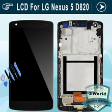 Original para lg d820 lcd para nexus 5 d821 pantalla lcd de pantalla táctil digitalizador asamblea frame (polish dull)-Negro + herramientas