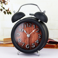 Wooden Snooze Backlight Alarm Clock Battery Powered Metal Desktop Digital Table Clocks Gradually Ringing Alarm Bell