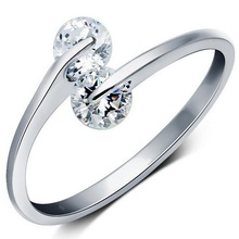 HOT 2016 New Silver Plated Adjustable Fashion Design Twin Zircon CZ Engagement Wedding Band Ring For Woman And White Gold Plated
