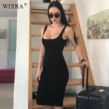 WIXRA Basic Vest Dress Women Back Split 2018 Summer New Fashion Sleeveless Tanks Slim Bodycon Strap Party Dresses - discount item  40% OFF Dresses