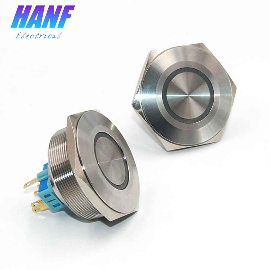 1pcs 40mm 1NO1NC Stainless Steel Metal Push Button Switch With Ring-shaped LED Lamp Self-reset Flat Head 6 Pins