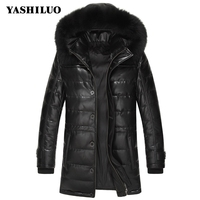 Brand Long Down Coats Men Real Sheepskin Slim Fit Fox Collar Winter Leather Male Pockets Hooded Single Breasted Thich Warm Coats
