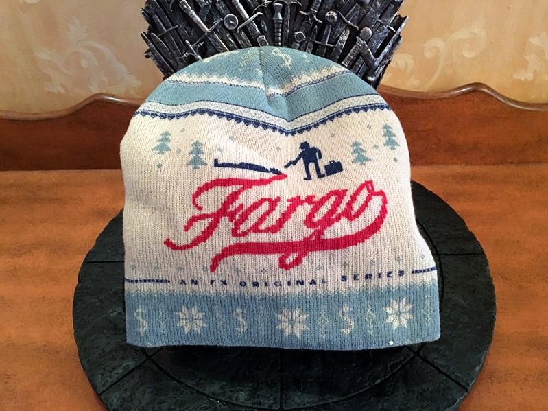 Sombrero de punto unisex de alta calidad jabón fresco ópera crimen programa de televisión logo Fargo gorra novedad cálido azul blanco gorro de tejer para el invierno